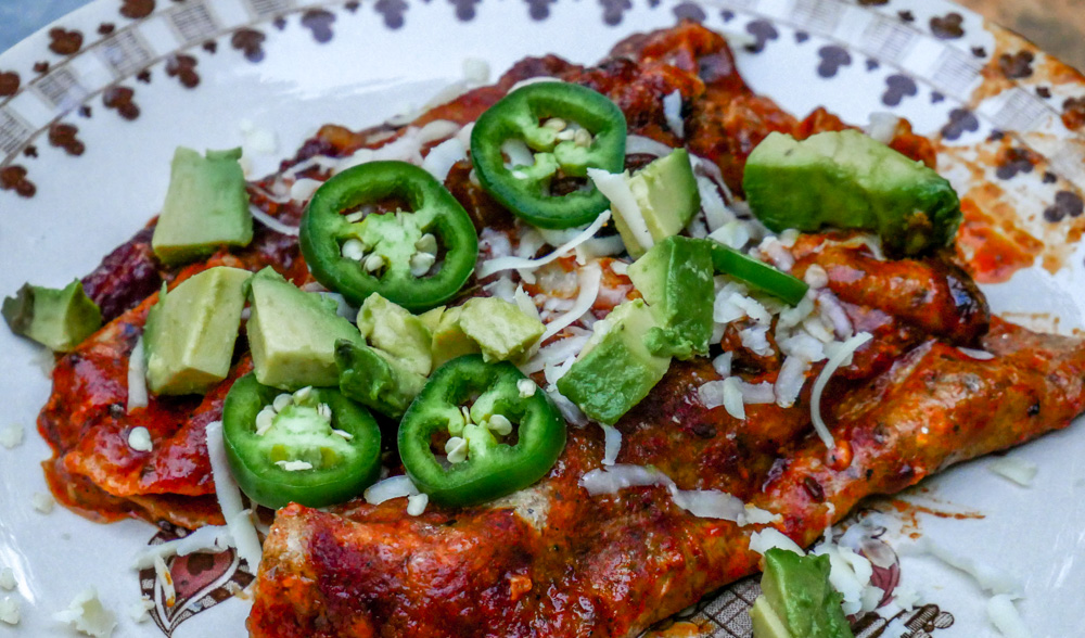 Chicken and Red Beans Enchiladas